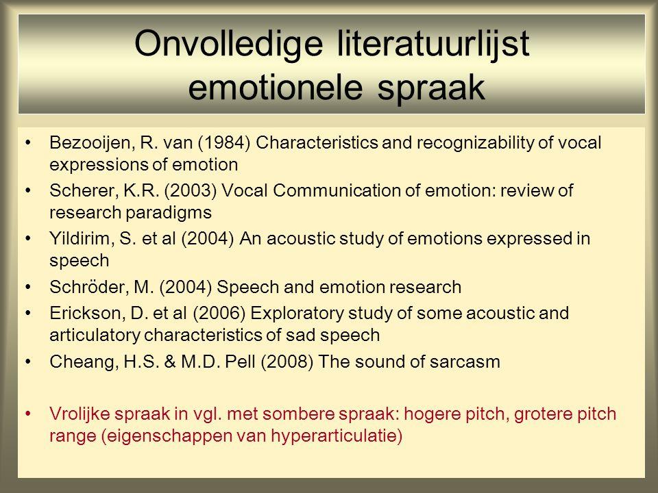 Onvolledige literatuurlijst emotionele spraak