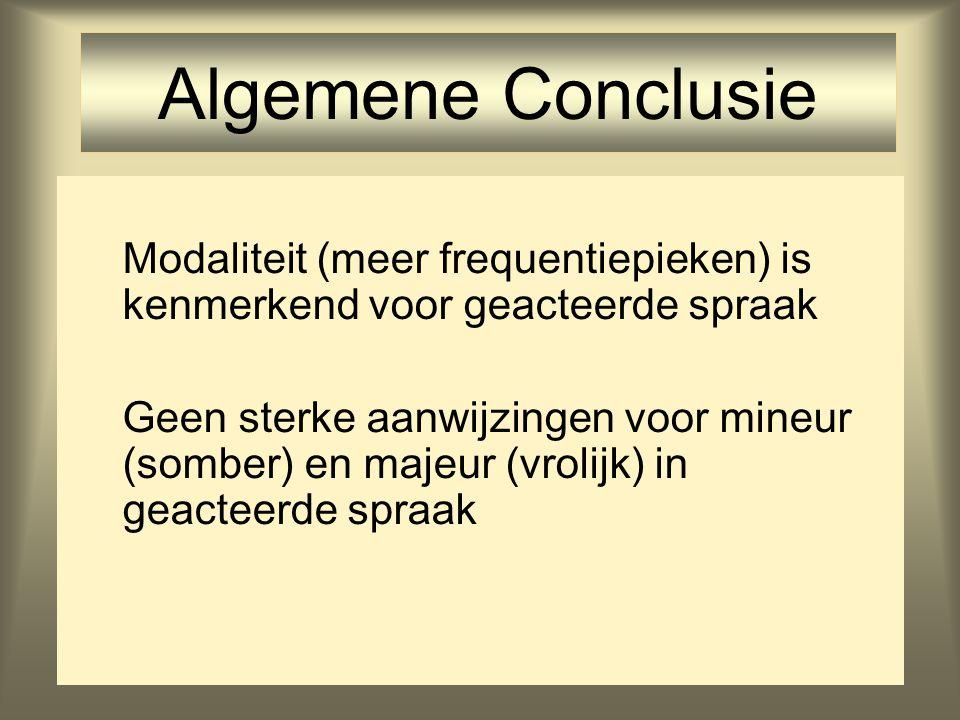 Algemene Conclusie Modaliteit (meer frequentiepieken) is kenmerkend voor geacteerde spraak.