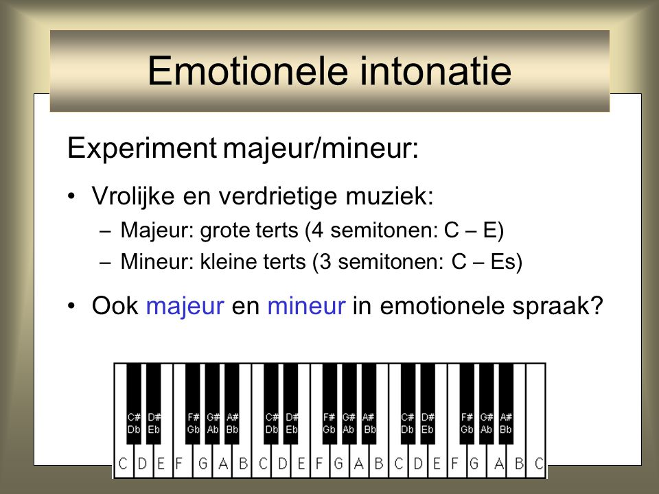Emotionele intonatie Experiment majeur/mineur: