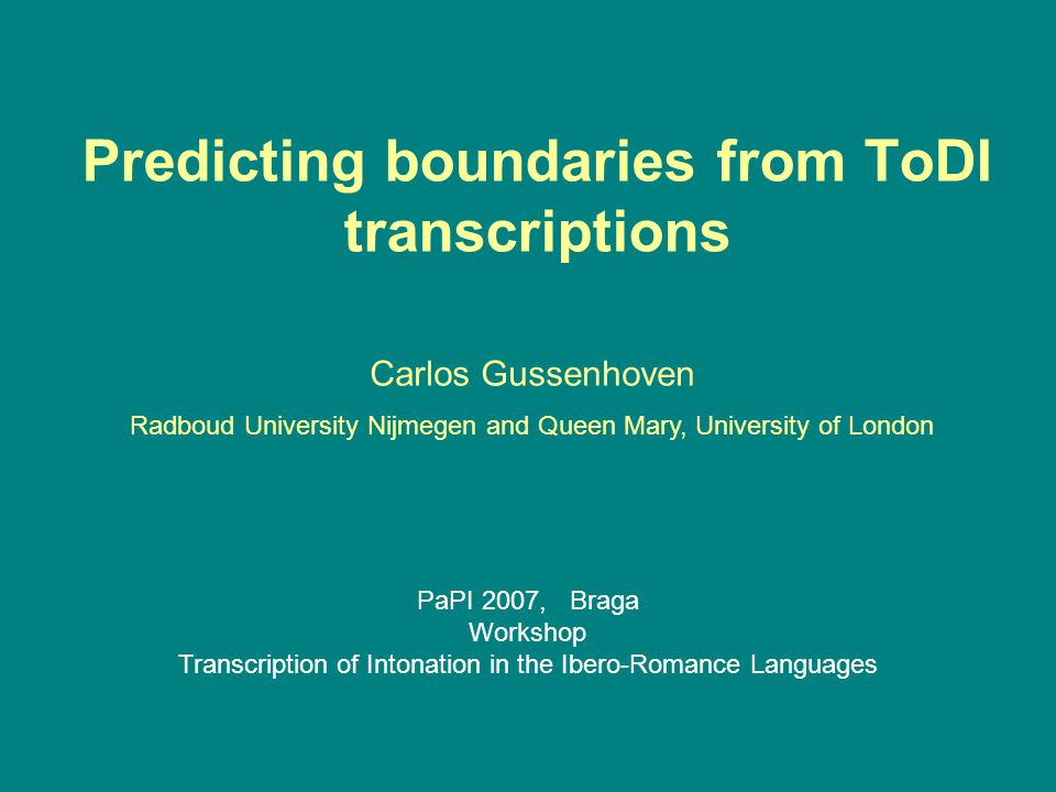 Predicting boundaries from ToDI transcriptions