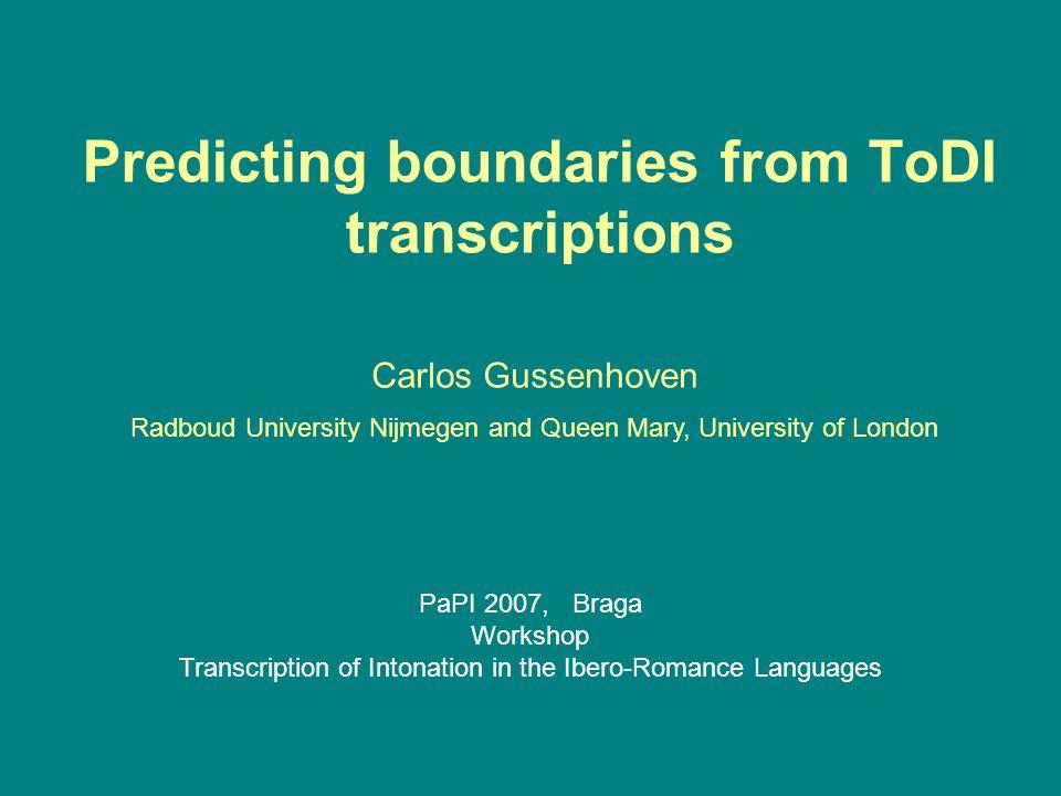 Predicting boundaries from ToDI transcriptions