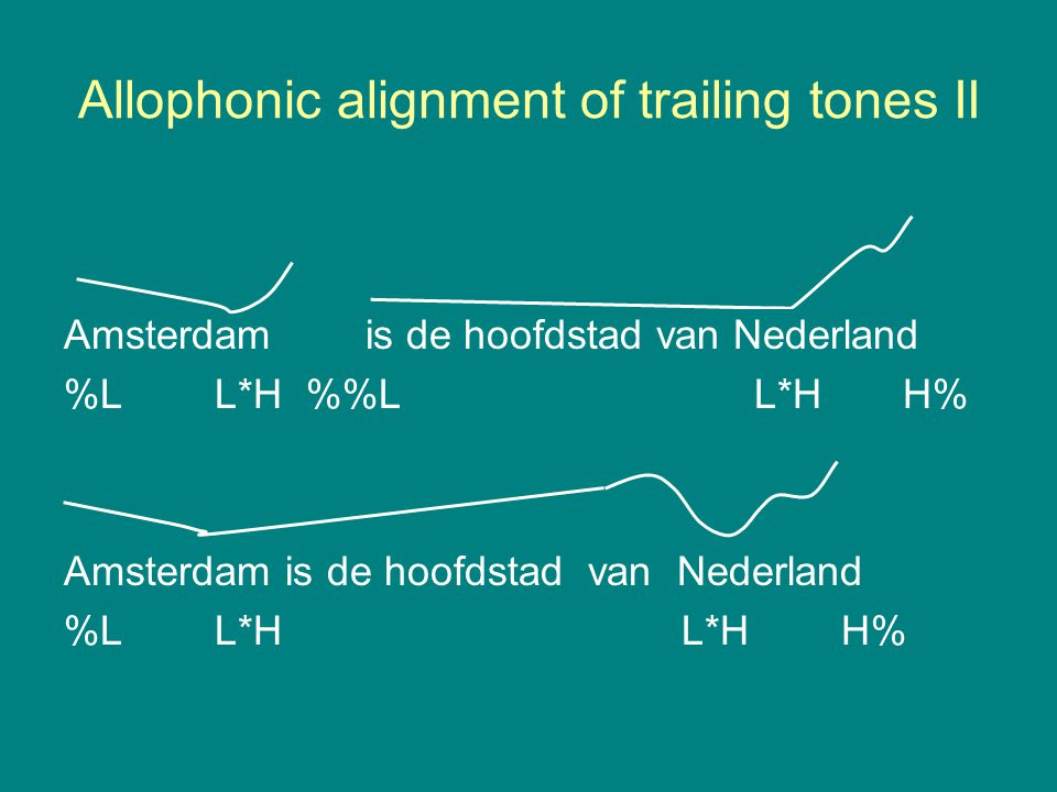 Allophonic alignment of trailing tones II