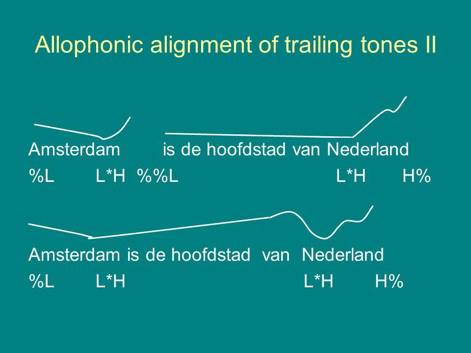 Allophonic alignment of trailing tones II