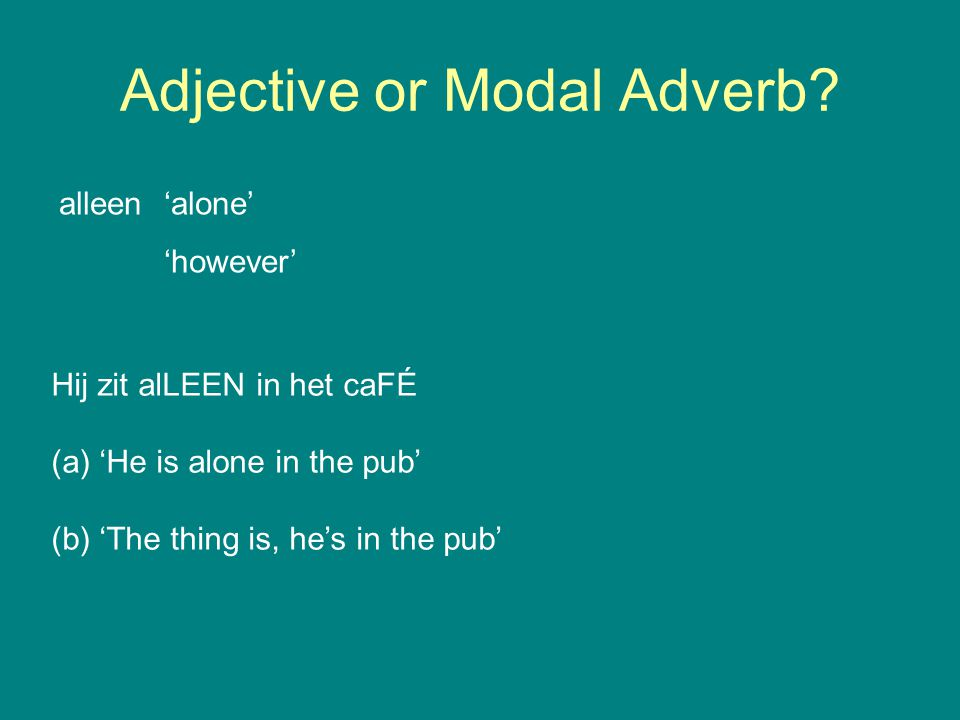 Adjective or Modal Adverb