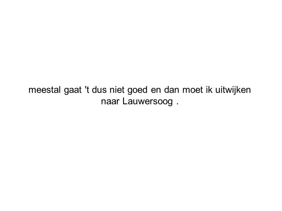 meestal gaat t dus niet goed en dan moet ik uitwijken naar Lauwersoog .