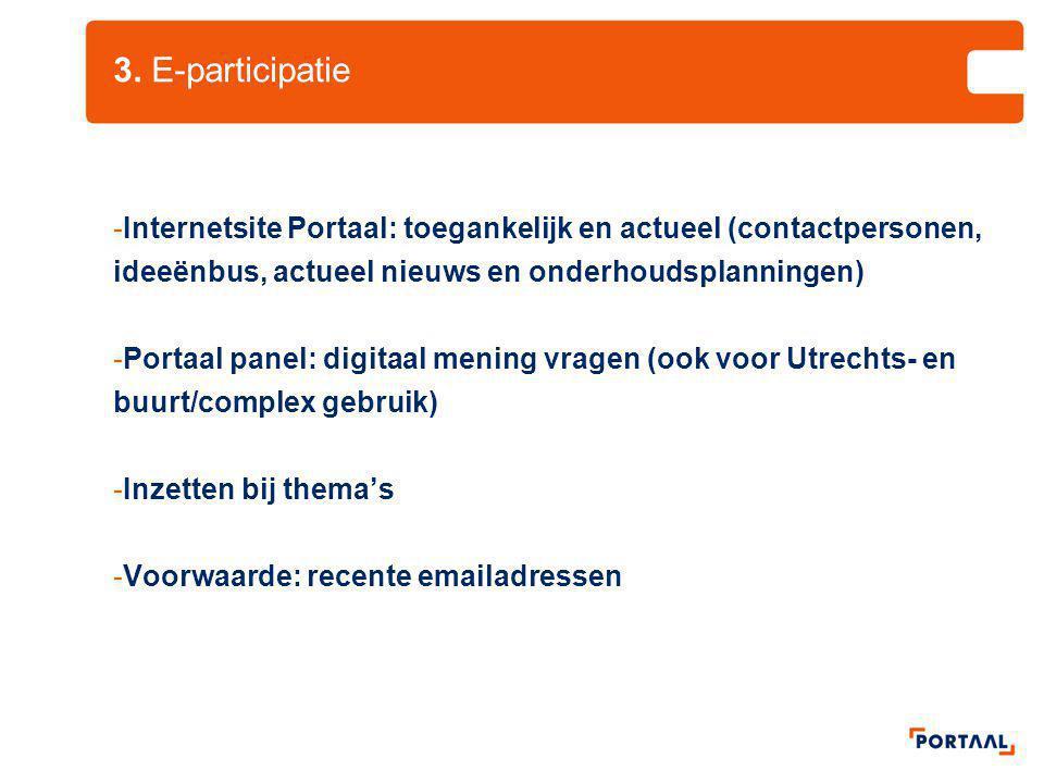 3. E-participatie Internetsite Portaal: toegankelijk en actueel (contactpersonen, ideeënbus, actueel nieuws en onderhoudsplanningen)