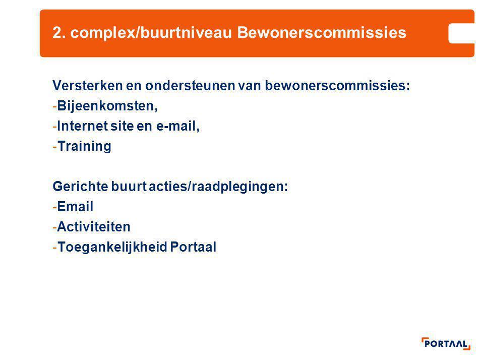 2. complex/buurtniveau Bewonerscommissies
