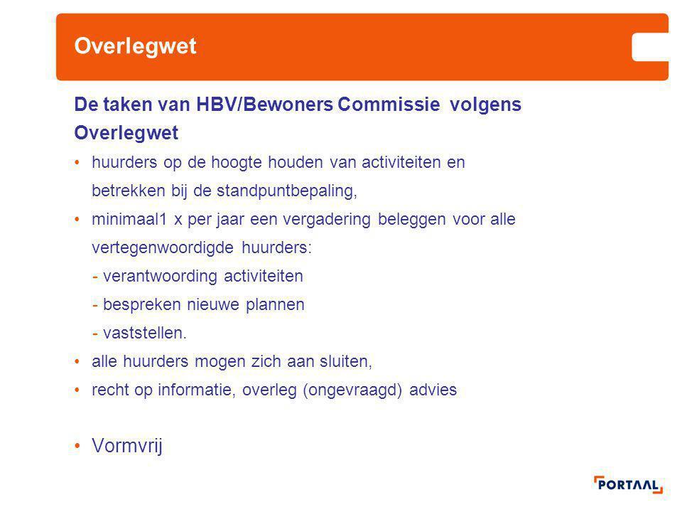Overlegwet De taken van HBV/Bewoners Commissie volgens Overlegwet