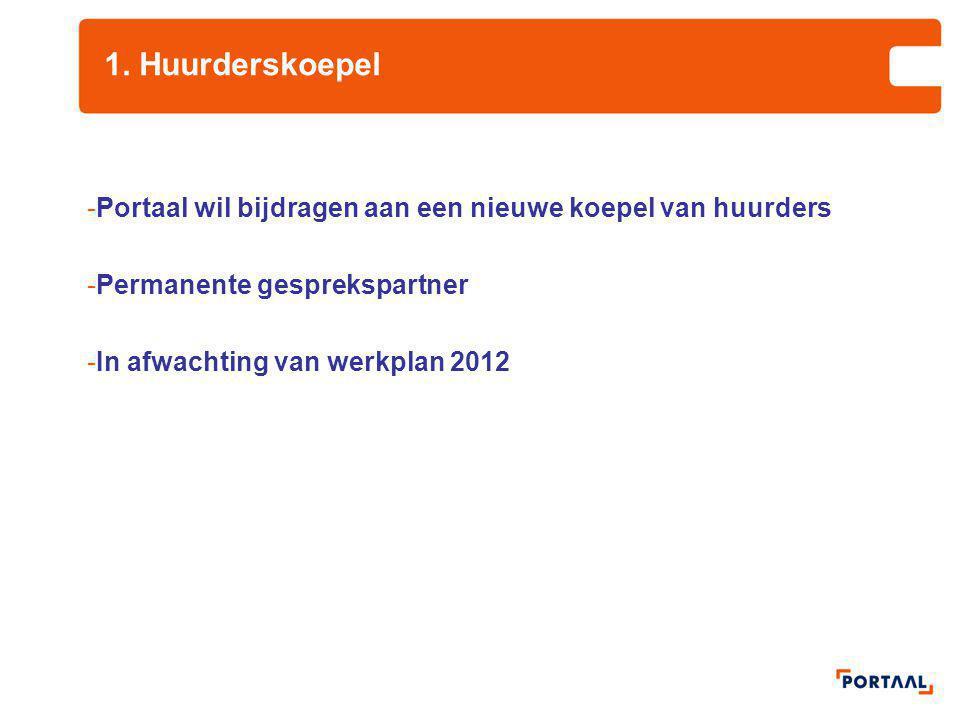 1. Huurderskoepel Portaal wil bijdragen aan een nieuwe koepel van huurders. Permanente gesprekspartner.