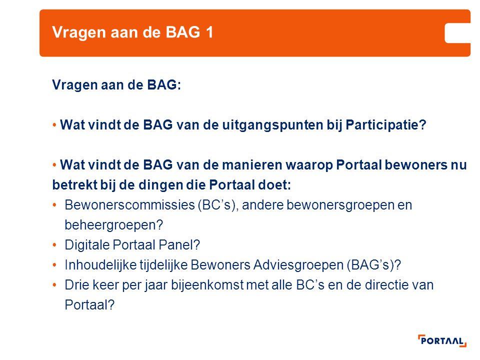 Vragen aan de BAG 1 Vragen aan de BAG: