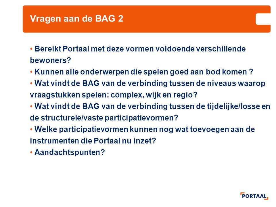 Vragen aan de BAG 2 Bereikt Portaal met deze vormen voldoende verschillende bewoners Kunnen alle onderwerpen die spelen goed aan bod komen