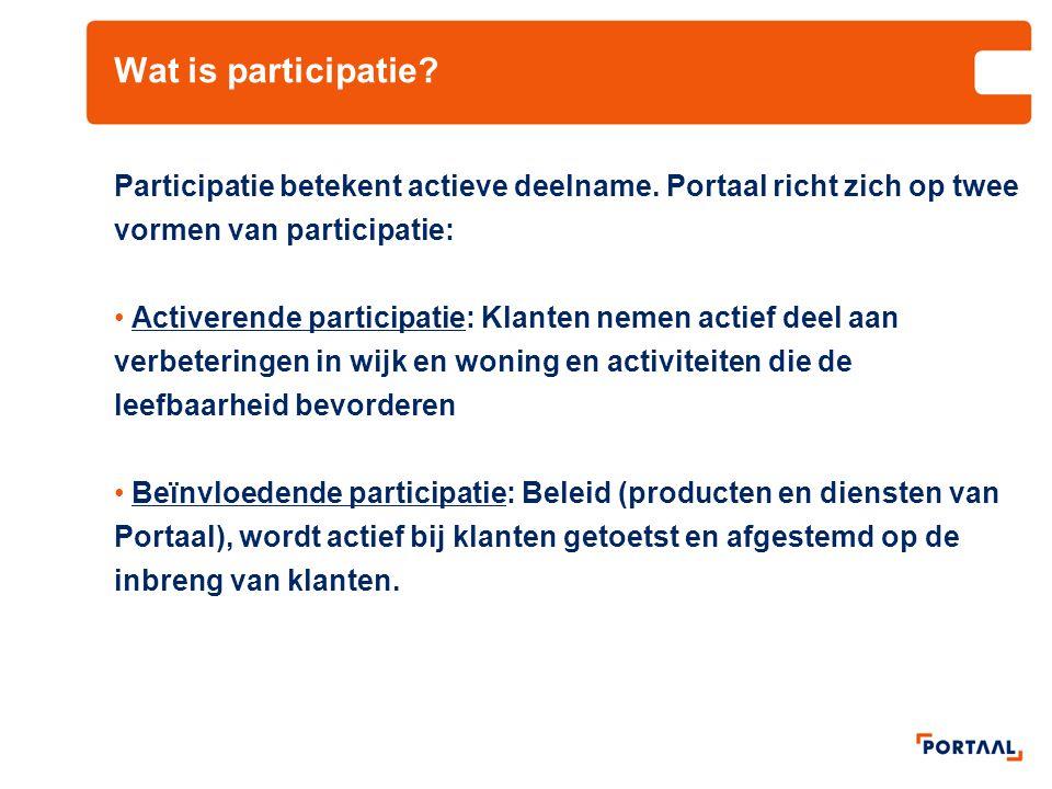 Wat is participatie Participatie betekent actieve deelname. Portaal richt zich op twee vormen van participatie:
