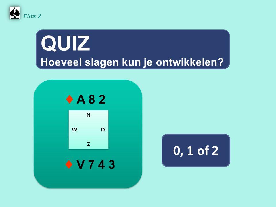 QUIZ 0, 1 of 2 ♦ A 8 2 ♦ V 7 4 3 Hoeveel slagen kun je ontwikkelen
