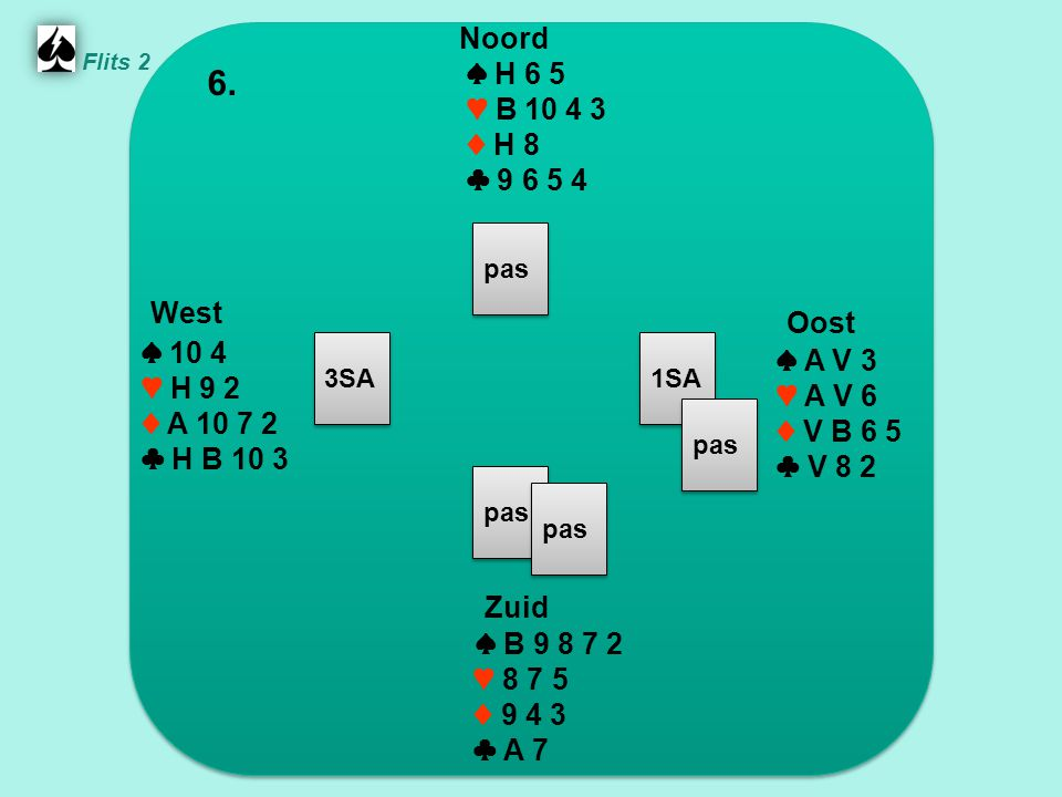 West Oost Noord 6. Zuid ♠ H 6 5 ♥ B 10 4 3 ♦ H 8 ♣ 9 6 5 4 ♠ A V 3