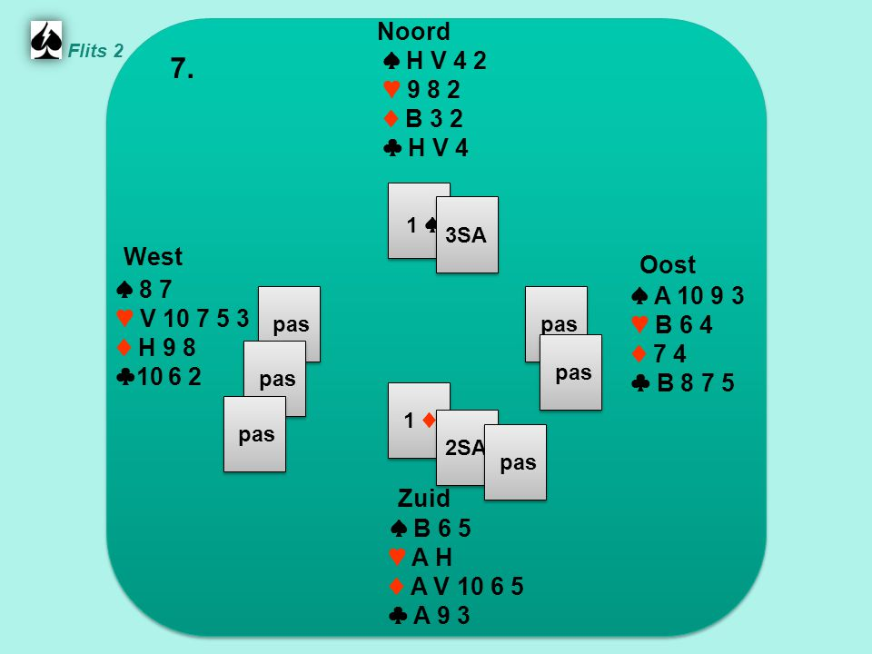 West 1 ♠ Oost Noord 7. Zuid ♠ H V 4 2 ♥ 9 8 2 ♦ B 3 2 ♣ H V 4