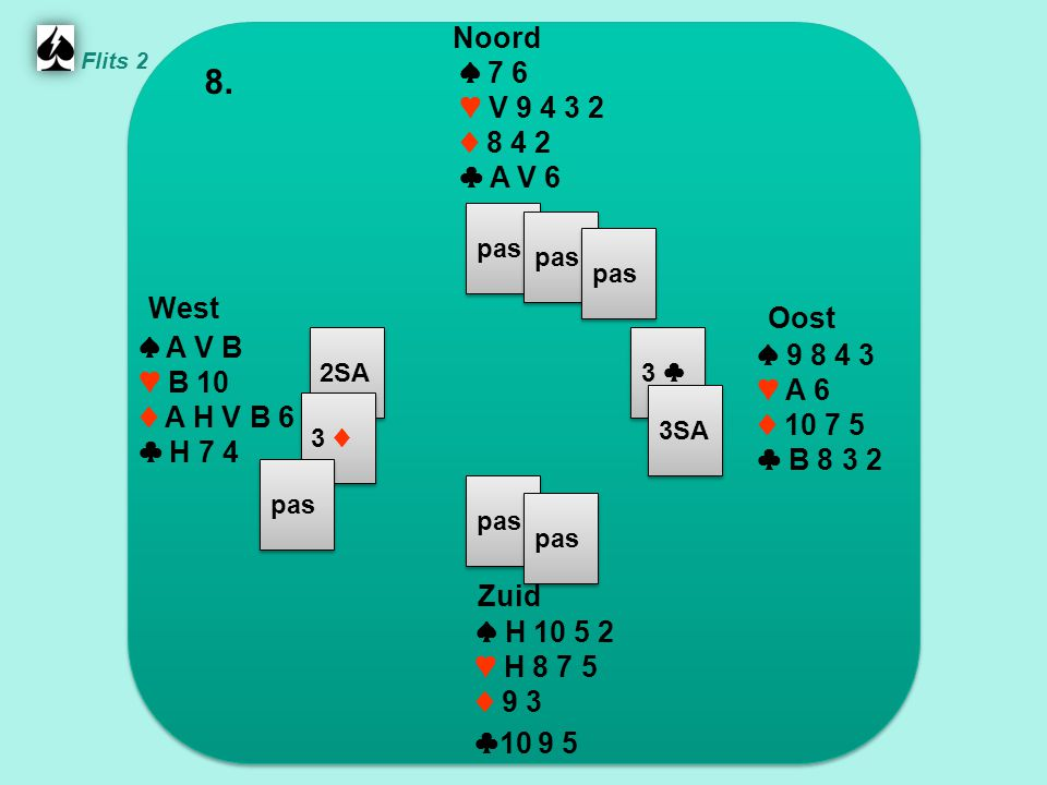 West Oost Noord 8. Zuid ♠ 7 6 ♥ V ♦ ♣ A V 6 ♠