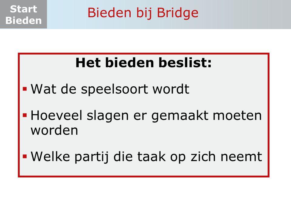 Bieden bij Bridge Het bieden beslist: Wat de speelsoort wordt. Hoeveel slagen er gemaakt moeten worden.