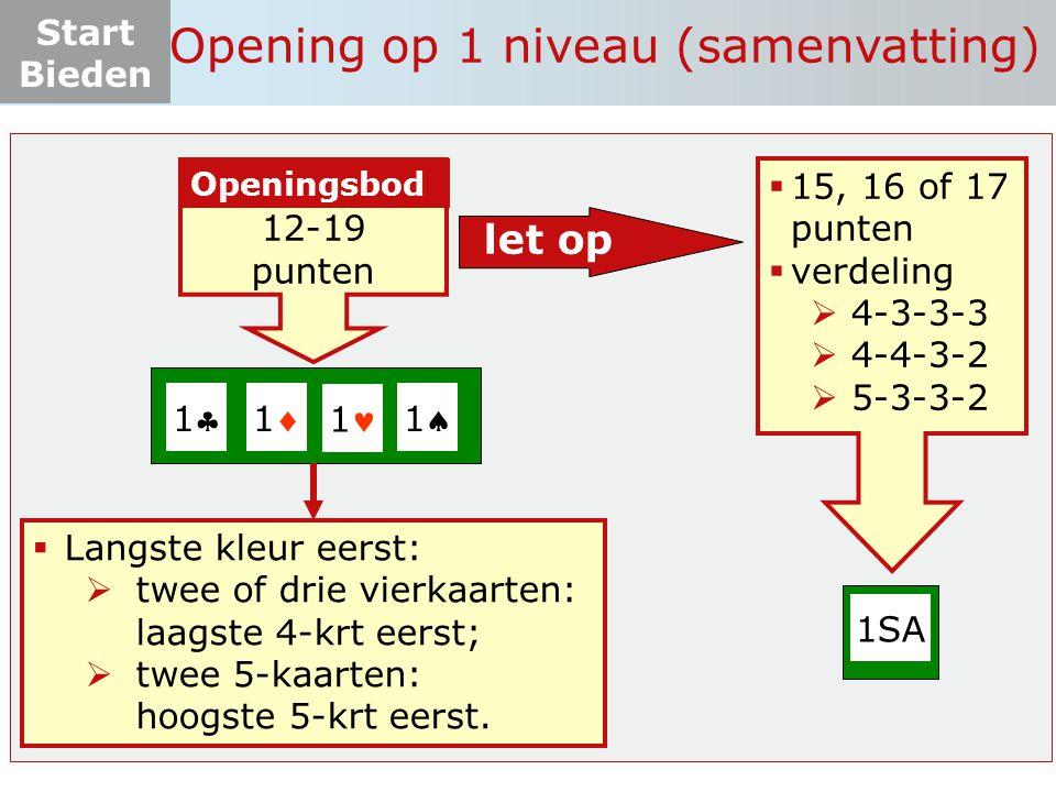 Opening op 1 niveau (samenvatting)