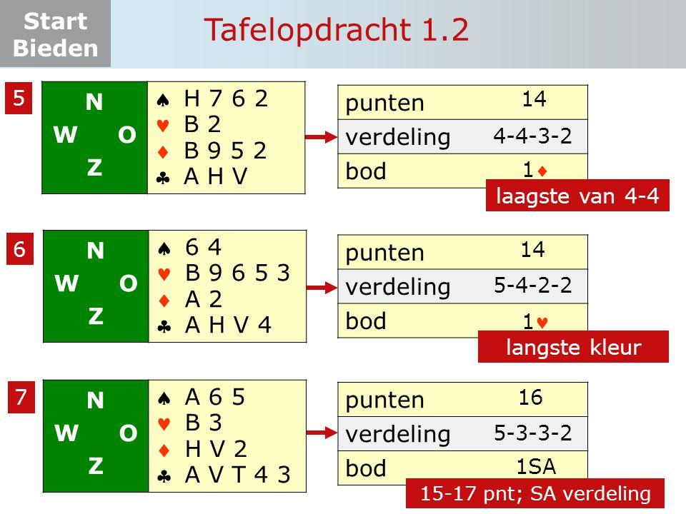 Tafelopdracht 1.2 N W O Z     H 7 6 2 B 2 B 9 5 2 A H V punten