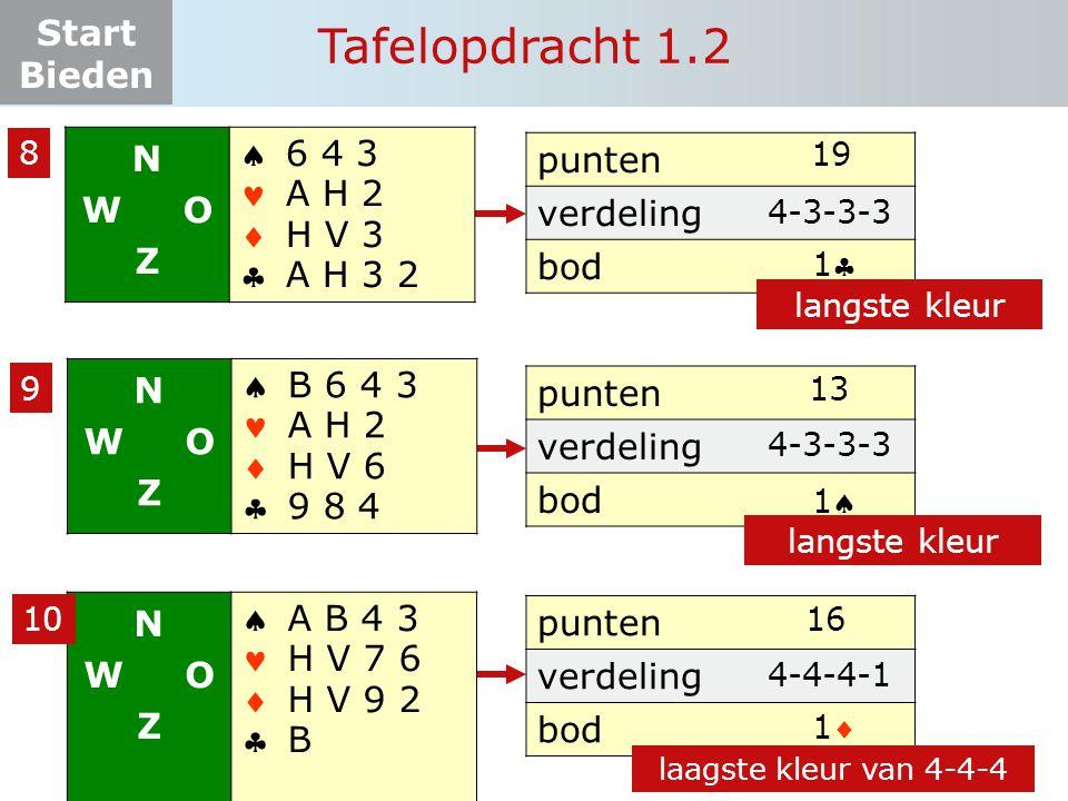 Tafelopdracht 1.2 N W O Z     6 4 3 A H 2 H V 3 A H 3 2 punten