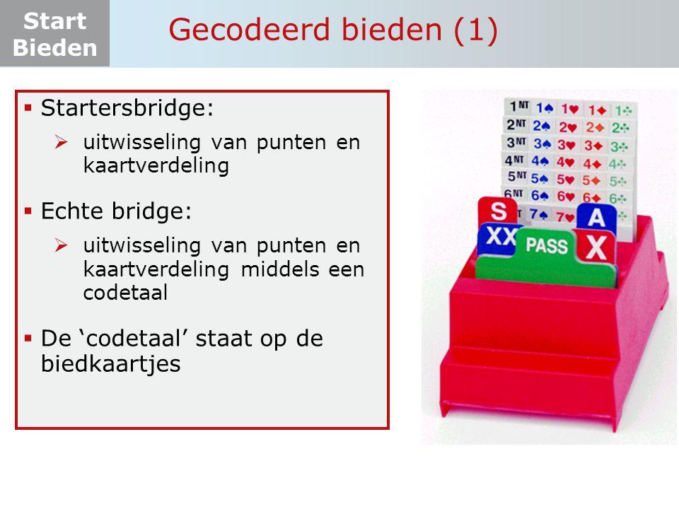 Gecodeerd bieden (1) Startersbridge: Echte bridge: