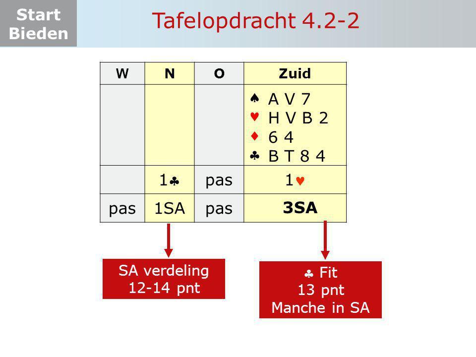 Tafelopdracht 4.2-2     1 pas 1 1SA A V 7 H V B 2 6 4 B T 8 4