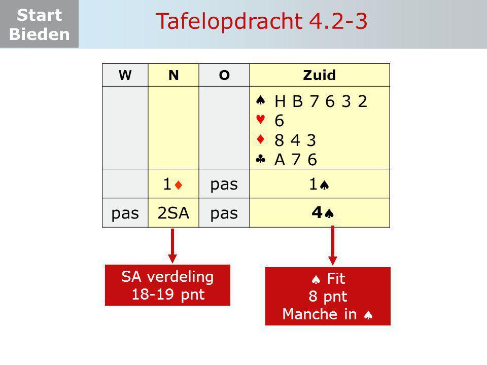 Tafelopdracht 4.2-3     1 pas 1 2SA H B 7 6 3 2 6 8 4 3 A 7 6