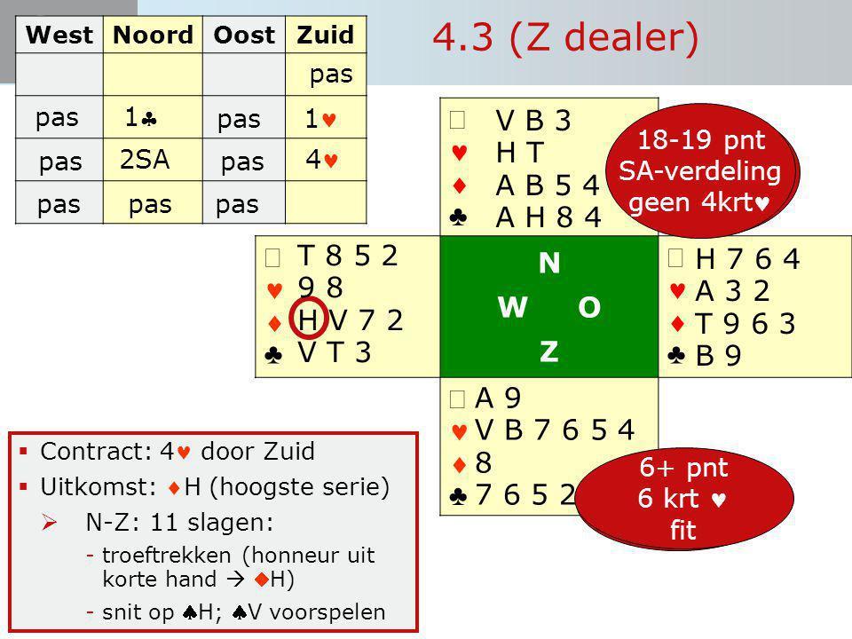 4.3 (Z dealer) ª   ♣ N W O Z ª V B 3 H T A B 5 4 A H 8 4 T 8 5 2