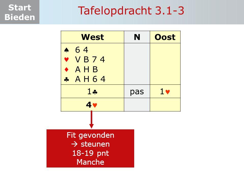 Tafelopdracht 3.1-3 West N Oost     1 pas 1 6 4 V B 7 4 A H B