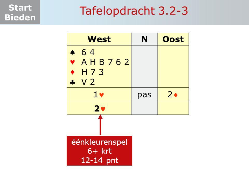 Tafelopdracht 3.2-3 West N Oost     1 pas 2 6 4 A H B 7 6 2