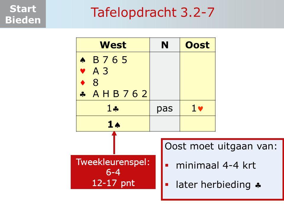 Tafelopdracht 3.2-7 West N Oost     1 pas 1 B 7 6 5 A 3 8
