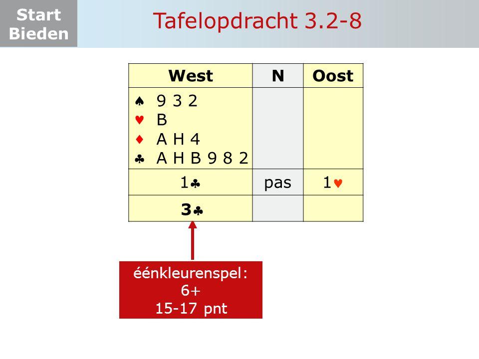 Tafelopdracht 3.2-8 West N Oost     1 pas 1 9 3 2 B A H 4