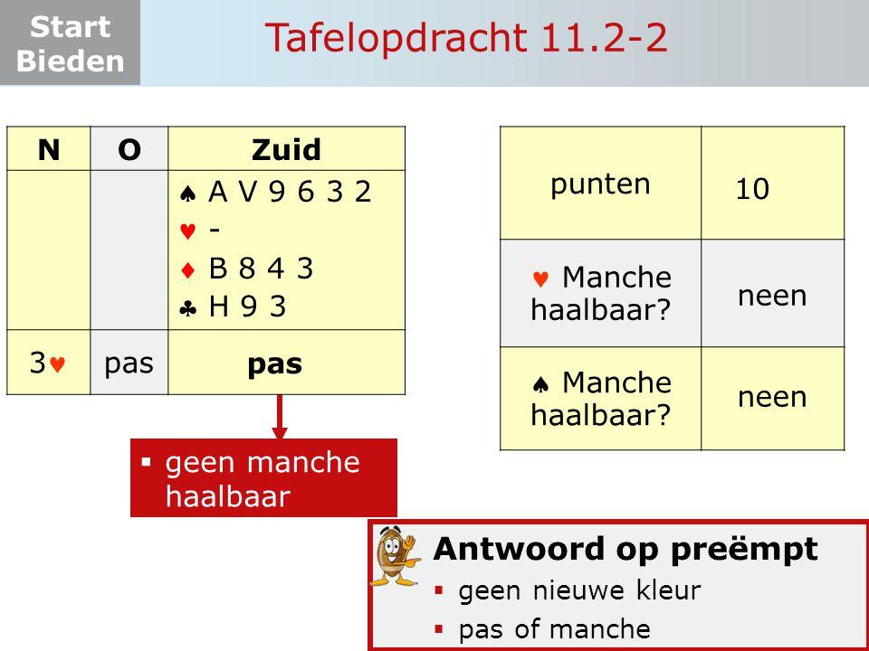 Tafelopdracht 11.2-2 Antwoord op preëmpt N O Zuid     3 pas