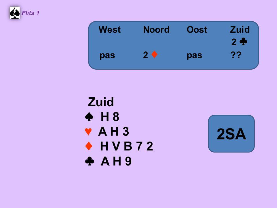 2SA Zuid ♠ H 8 ♥ A H 3 ♦ H V B 7 2 ♣ A H 9 West Noord Oost Zuid