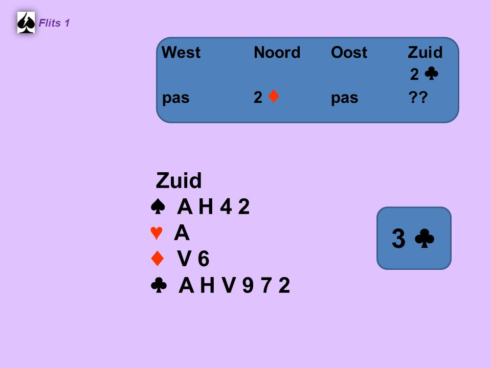 3 ♣ Zuid ♠ A H 4 2 ♥ A ♦ V 6 ♣ A H V 9 7 2 West Noord Oost Zuid