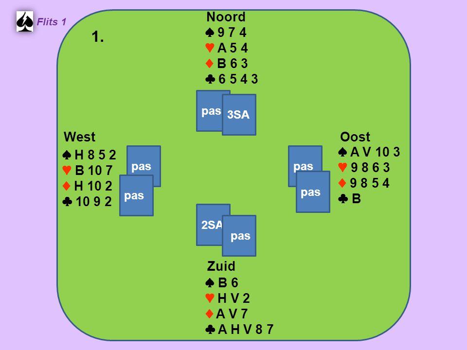 West Noord 1. Zuid ♠ 9 7 4 ♥ A 5 4 ♦ B 6 3 ♣ 6 5 4 3 ♠ A V 10 3