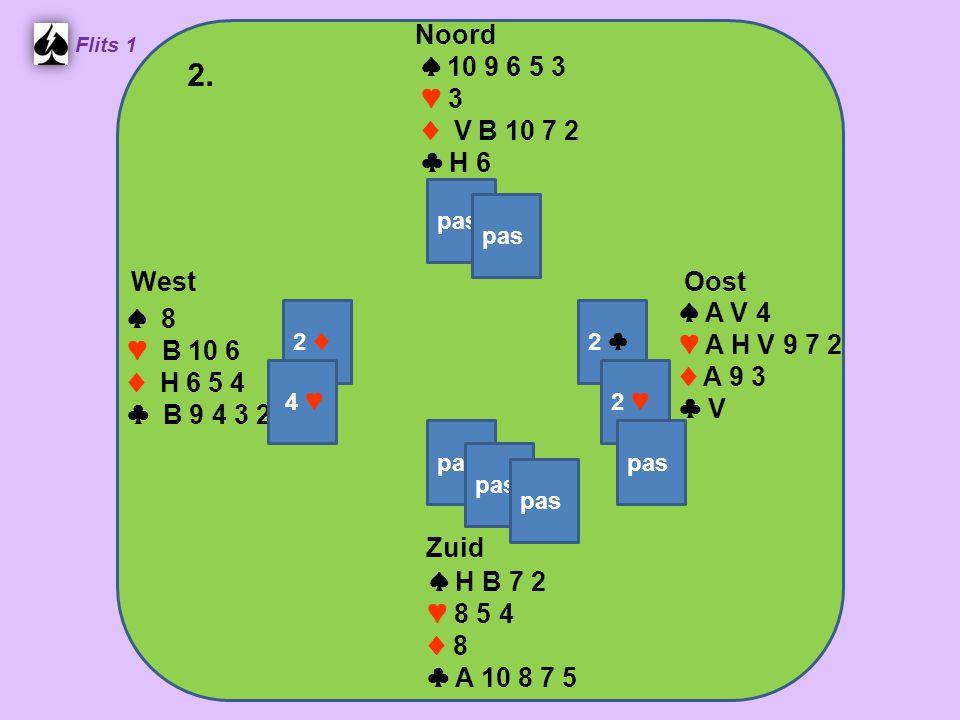 West Noord 2. Zuid ♠ 10 9 6 5 3 ♥ 3 ♦ V B 10 7 2 ♣ H 6 ♠ A V 4 ♠ 8