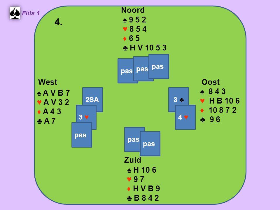 West Noord 4. Zuid ♠ 9 5 2 ♥ 8 5 4 ♦ 6 5 ♣ H V 10 5 3 ♠ 8 4 3