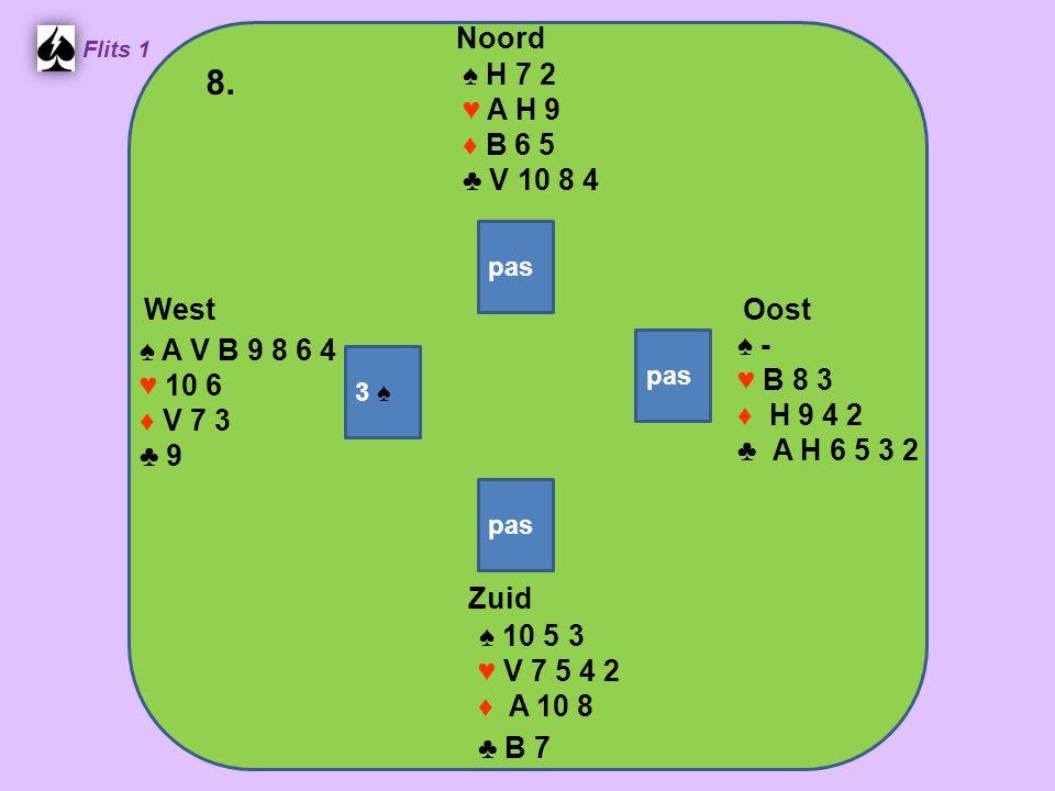 West Noord 8. Zuid ♠ H 7 2 ♥ A H 9 ♦ B 6 5 ♣ V 10 8 4 ♠ -