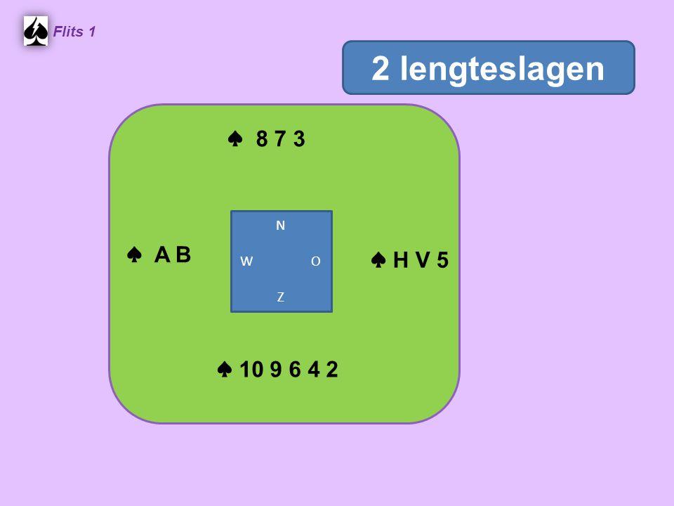 Flits 1 2 lengteslagen ♠ 8 7 3 N W O Z ♠ A B ♠ H V 5 ♠ 10 9 6 4 2