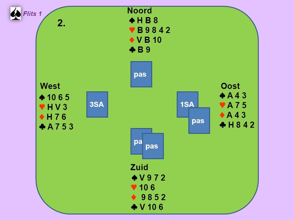West Noord 2. Zuid ♠ H B 8 ♥ B 9 8 4 2 ♦ V B 10 ♣ B 9 ♠ A 4 3 ♠ 10 6 5