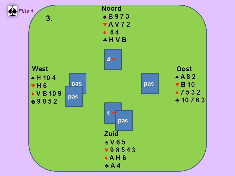 West Noord 3. Zuid ♠ B 9 7 3 ♥ A V 7 2 ♦ 8 4 ♣ H V B ♠ A 8 2 ♠ H 10 4