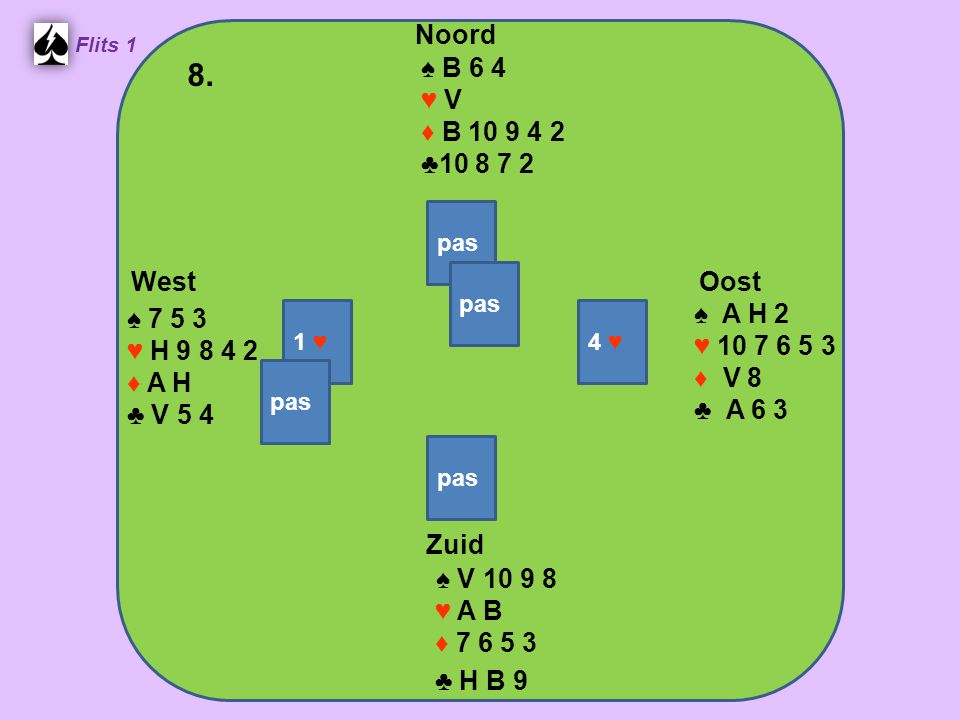 West Noord 8. Zuid ♠ B 6 4 ♥ V ♦ B 10 9 4 2 ♣10 8 7 2 ♠ A H 2 ♠ 7 5 3