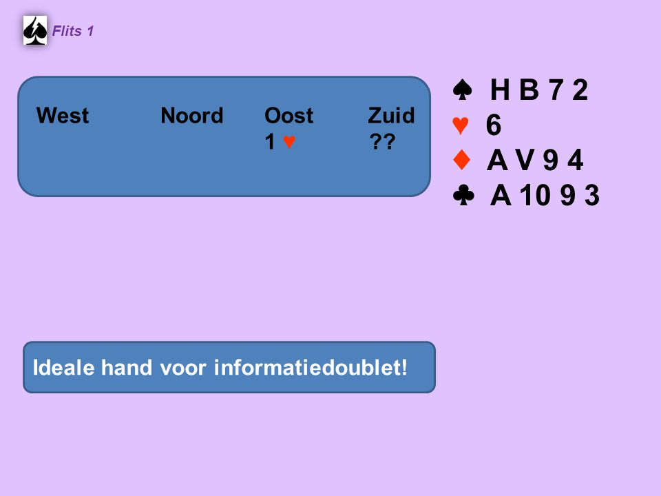 ♠ H B 7 2 ♥ 6 ♦ A V 9 4 ♣ A 10 9 3 West Noord Oost Zuid 1 ♥