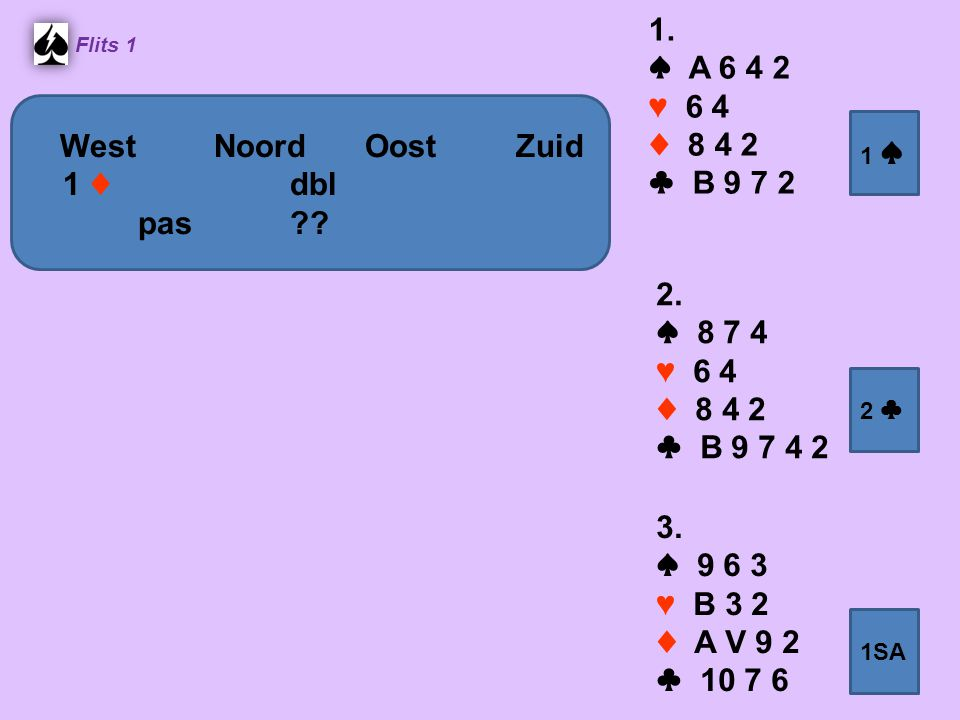 1. ♠ A 6 4 2 ♥ 6 4 ♦ 8 4 2 ♣ B 9 7 2 West Noord Oost Zuid