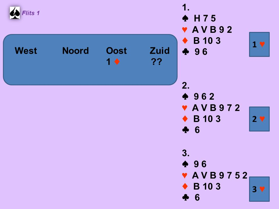 1. ♠ H 7 5 ♥ A V B 9 2 ♦ B 10 3 ♣ 9 6 1 ♥ West Noord Oost Zuid 1 ♦