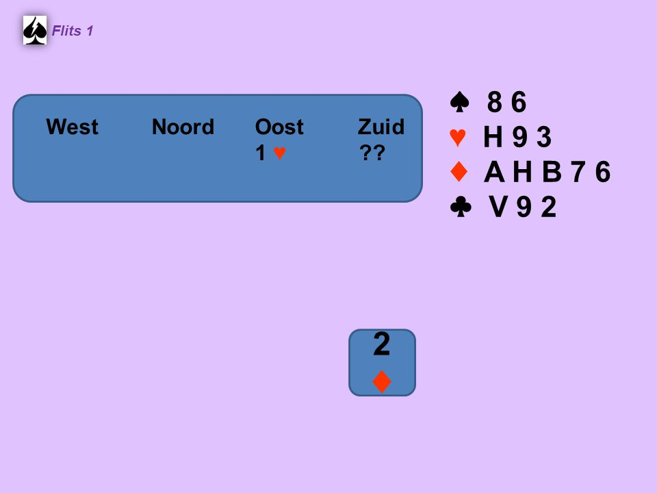 2 ♦ ♠ 8 6 ♥ H 9 3 ♦ A H B 7 6 ♣ V 9 2 Noord West Noord Oost Zuid
