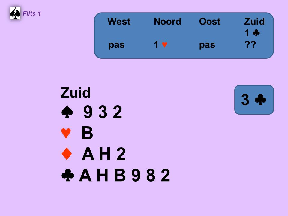 ♠ 9 3 2 ♥ B ♦ A H 2 ♣ A H B 9 8 2 3 ♣ Zuid West Noord Oost Zuid
