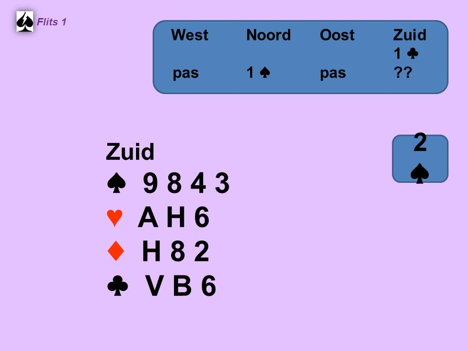 ♠ 9 8 4 3 ♥ A H 6 ♦ H 8 2 ♣ V B 6 2 ♠ Zuid West Noord Oost Zuid