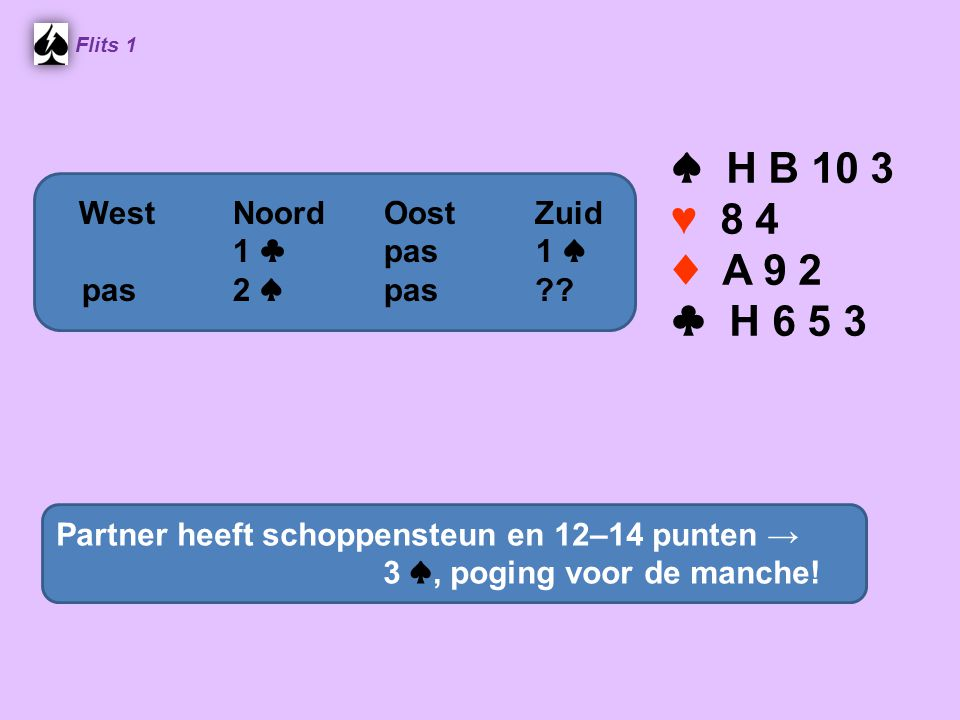 ♠ H B 10 3 ♥ 8 4 ♦ A 9 2 ♣ H 6 5 3 West Noord Oost Zuid